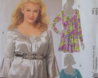 Misses' Boho Blouse McCall's M5757 Tunic Sewing Pattern, Pleated Scoop Neck Top with Long or Short Bell Sleeves, Size 8-16, UNCUT Destash