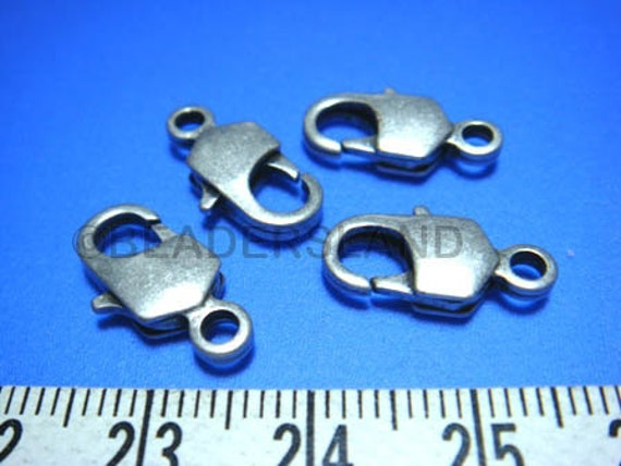 last pack / B121SA / 8Pc / 16x7mm - Antique Silver Plated Rectangle Lobster Clasps Findings