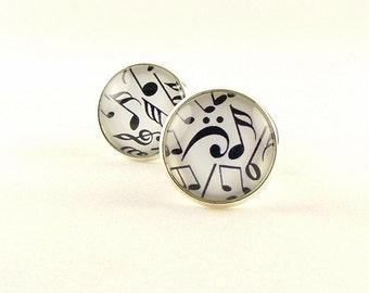 Perfect Gift For Him - Music Cufflinks - Musical Notes Cuff Links - Sheet Music - Gift for Boyfriend Husband - Music Teacher Gift