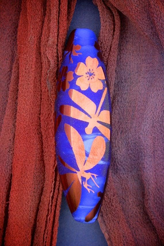 Lampwork Glass Beads SRA ~ Copper Dragonflies & Blossoms ~ Sandblasted Copper Lustre Focal Window Bead