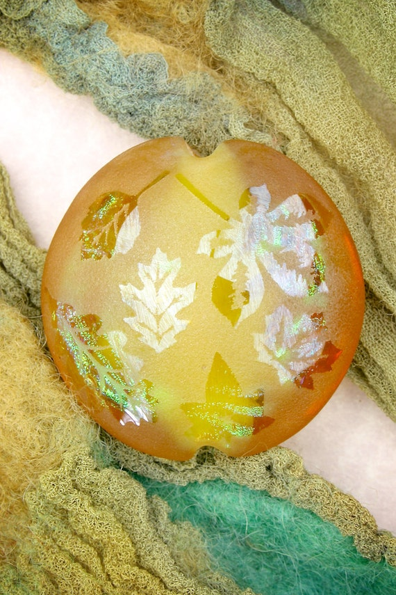 Lampwork Glass Beads SRA ~ Honeyed Amber Leaves ~ Iridescent Focal Bead Lentil with Dichroic