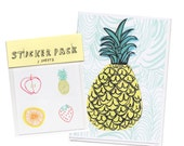 Fruit Stickers & Card Gift Set