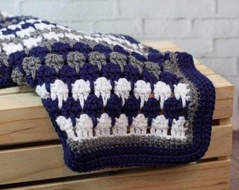 Crochet Blanket - Blue Blanket - Teardrop Afghan - 40 x 40 - Ready to Ship