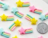 Kawaii Cabochons - 22mm Pastel Shooting Star Rainbow Flatback Resin Cabochon - 9 pcs set