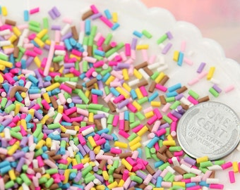 Fake Sprinkles - 48 grams 5mm Fake Sprinkles Colorful Faux Chocolate Topping Candy Flakes Polymer Clay or Fimo Cabochons - 48 g bag