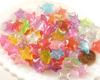 15mm Candy Star Resin Cabochons - 14 pc set
