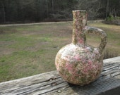 Vintage Clinchfield Artware Pottery Ewer Vase--Hand Painted--Erwin TN--Speckled Green Pink--Primitive Country Decor--Cottage Chic Shabby