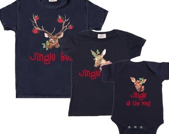 Family Christmas Shirts Mom Dad Baby combo Christmas Tee Shirts 1st Christmas Shirts Woodland Christmas Tee's