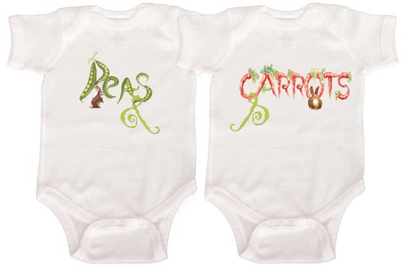 Peas and Carrots Twin Bodysuits by Mumsy Goose  Twin Rompers to Kids Tee's
