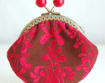 Red Heaven Coin Purse Change Pouch with Metal Kiss Lock Clasp Frame - READY TO SHIP