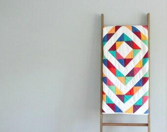 Modern Baby Girl or Boy Quilt, Baby Blanket, Crib Quilt, Stroller Blanket - Rainbow Road Modern Patchwork Design