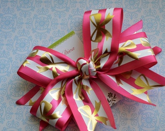 Golden Bows on Pink and White XL Diva Bow
