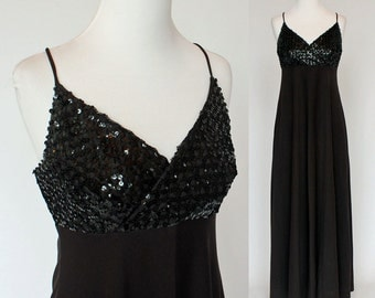 70's Black Sequined Dress / Empire Waist / Spaghetti Strap Gown / XSmall to Small