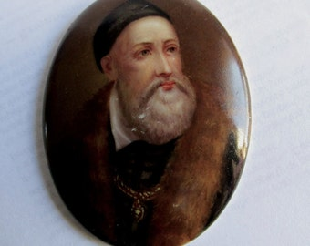 Antique 19thC Miniature Painting on Porcelain of Titian Old Master Painter