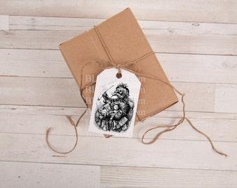 Handmade Christmas Gift Tags Vintage Santa Party Favor Treat Bag Tags TC039
