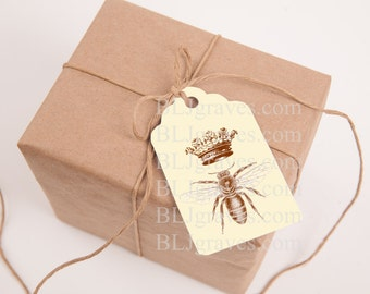 Tags Vintage Style Queen Bee Crown Gift Tags or Price Tags Party Favor Treat Bag Tag T025