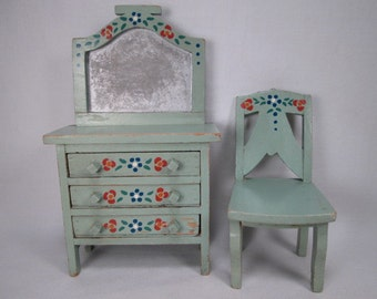 Vintage Dollhouse Furniture - Wooden Three Drawer Dresser and Chair - Play Scale Size for Small Dolls