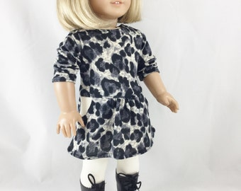 18 Inch Clothing Handmade Knit Tee Shirt Dress Cotton Knit Leggings Snow Leopard Animal Print Black Grey Cream girls toy