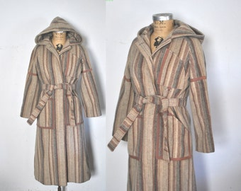 1970s Wool HOOD Coat Jacket / swing princess / S-M