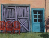 "Daydreaming Chairs - Original Acrylic Oil Encaustic Landscape Painting - 20""x 16"""