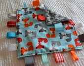FOXES Tag Baby Security Blanket with Minky backing, ribbon strips