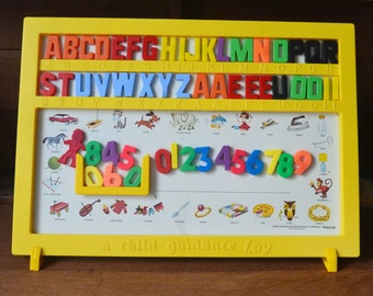 Vintage Child Guidance Magnetic Alphabet Board with Stand Letters & Numbers