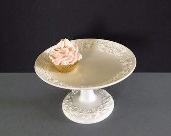 Vintage Wedgewood Queens Ware Embossed Footed Dish Cream on Cream