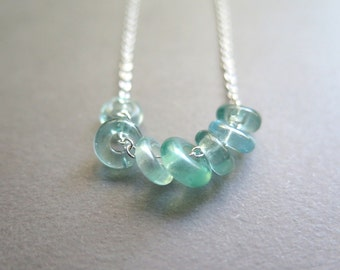 light turquoise necklace. aquamarine glass jewelry. silver cable chain. made in Canada