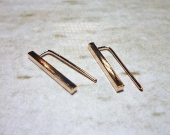 Long Bar Ear Cuff Earrings, Ear Climbers, Climber Earrings,