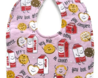 Milk and Cookies Bib - Talking Cookies Baby Bib - Pink Baby Girl Bib - Flannel Cooky Bib