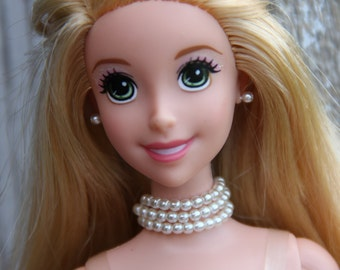 White Pearls 3 Strand Necklace Choker Doll Necklace and Earring Set for 11 1/2 - 12 inch 1/6th Scale Fashion Dolls Wedding Jewelry