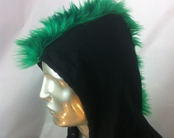 Mohawk Hoody Hoodie for big Kids or Adults - American Apparel Zip Front Sweatshirt with Faux Fur Mohawk-Adult x-small - Emerald Green Fur