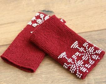 Handknitted traditional lithuanian beaded red wrist warmers, mill pattern, arm warmers, white beads