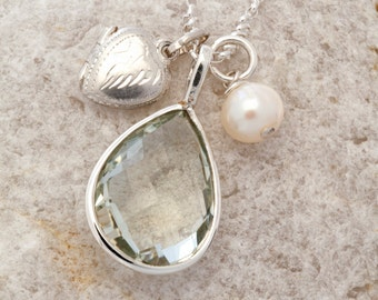 Vintage Locket and Gem Pendant Necklace, silver heart necklace