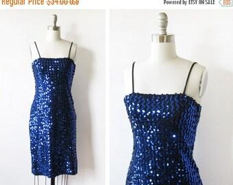 50% OFF SALE blue sequin dress, vintage 80s sequin wiggle dress, xs 1980s party dress