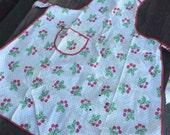 Vintage Apron with Cherries 40's 50's Cherry Fruit Fabric