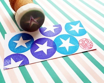 star silhouette stamp. circle hand carved rubber stamp. birthday christmas scrapbooking. diy gift tags stickers. mounted