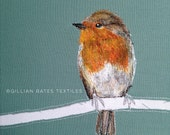 RESERVED Robin Embroidered Textile Art Canvas