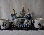 Rococo Tea Party/Staffordshire Style Figurine Ensemble/Vintage 1950s/Hollywood Regency Decor/With Two Rococo Style Mugs