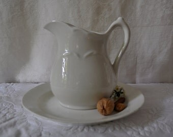 Pure White Vintage Ironstone Pitcher/Antique Ironstone Plate/Johnson Brothers/Rustic Cottage Decor