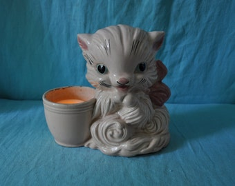 Vintage Pink Kitty Night Light/Vintage 1960s/Retro Repurposed Cat Pottery Planter