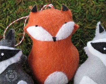 Fox Beastly Fellows Mini Plush Ornament. Embroidered Woodland Creature Hand Sewn Felt Door Hanging Red & White Twine Plush Orange Animal