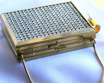 Vintage Art Deco Gold Metal Cigarette Case or Credit Card Case Purse Compact Comb Rhinestones