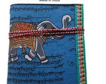 Indian Elephant Journal, Art Journal, A6 Notebook, Junk Journal, Mens Journal, Guy Gift,Navy Blue, Handmade Diary, Blank Notebook, 45 Pages,