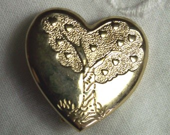 Tree of Love Heart Pin Women's Gift Goldtone Jewelry THE VARIETY CLUB Lapel Pin Brooch