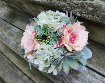 Rustic Country Wedding Succulent Hydrangeas Blush Pink with Lace Bridesmaid Flower Bouquet