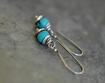 Sterling Turquoise Earrings, Sterling Silver Stamped Earrings, Gemstone Dangly Earrings, Rustic Metalwork Earrings