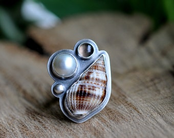 Sterling Shell Pearl Ring, Oxidised Smoky Quartz Sterling Silver Statement Ring, Gemstone Metalwork Ring