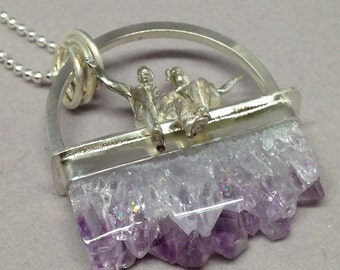 Amethyst Crystal Necklace with Tiny Cast People