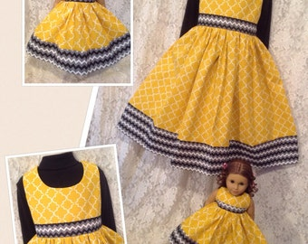 CUSTOM SIZES * Sunshine and Chevrons * Matching dress child 2 3 4 5 6 7 8 9 10 12 14 & American Girl Doll Bitty Baby My Twinn - sewnbyrachel